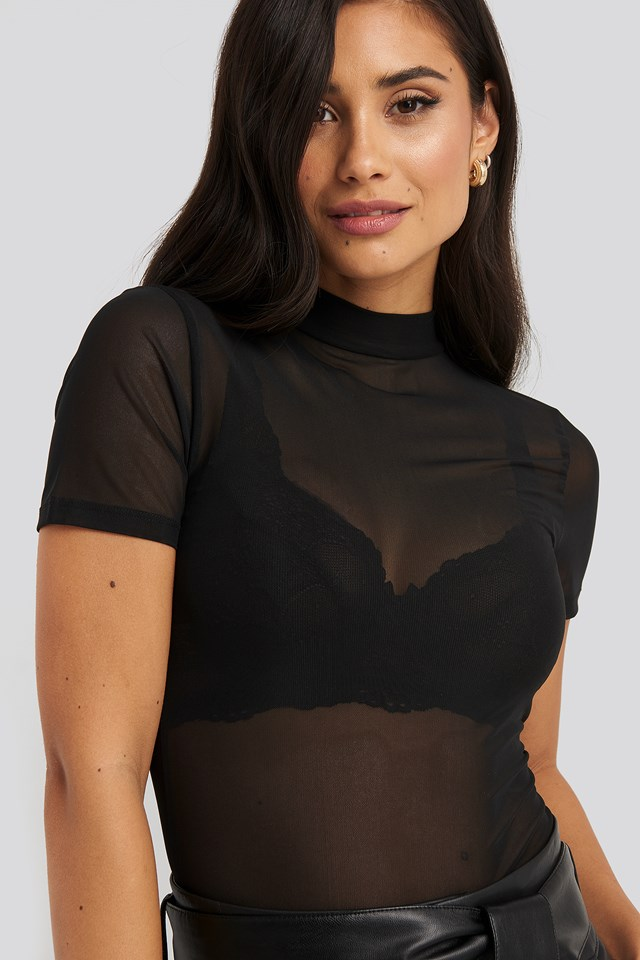 Short Sleeve Mesh Top NA-KD Party