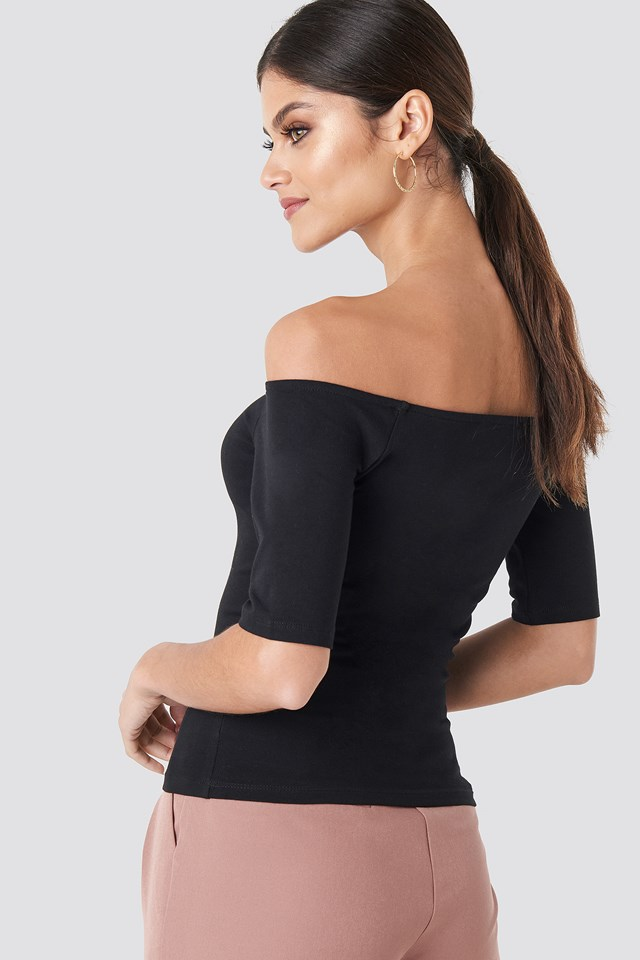 Short Sleeve Off Shoulder Top Black