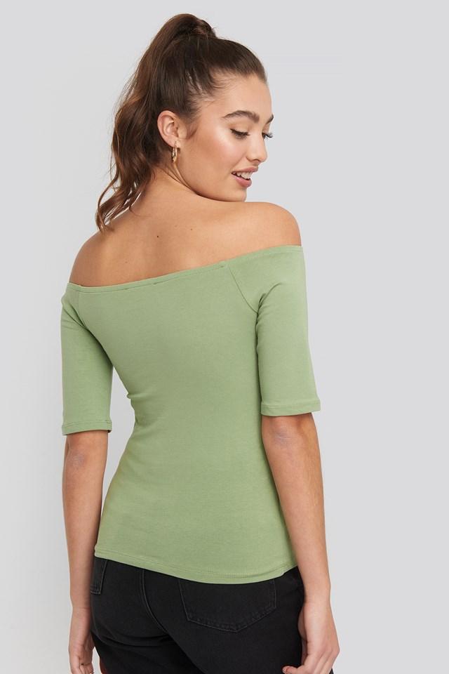 Short Sleeve Off Shoulder Top Khaki