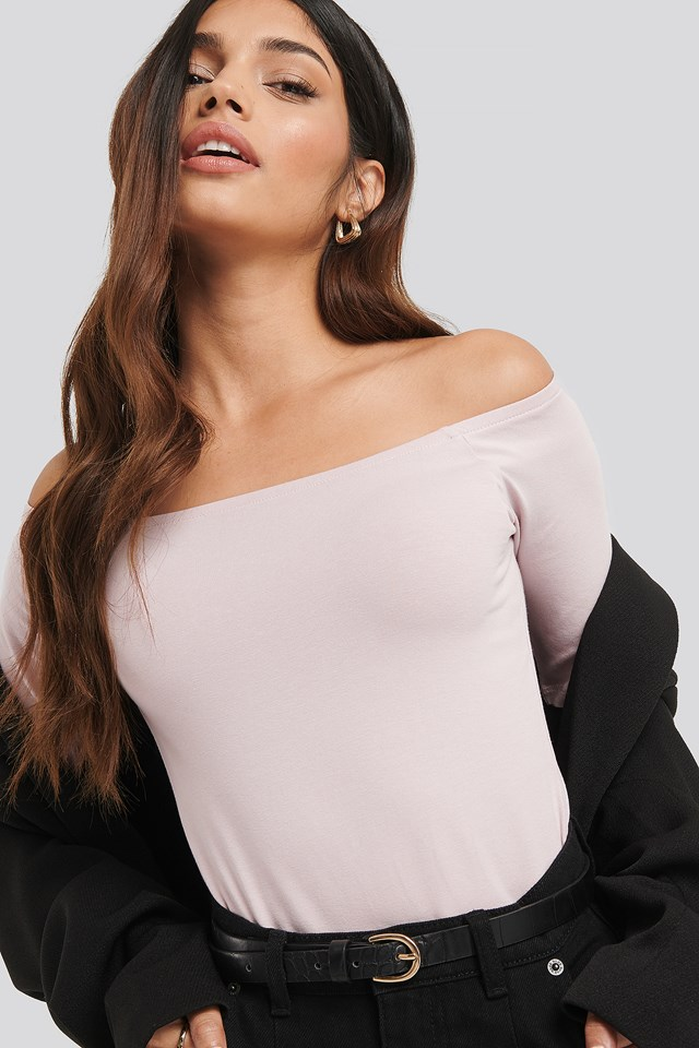 Short Sleeve Off Shoulder Top Dusty Light Pink