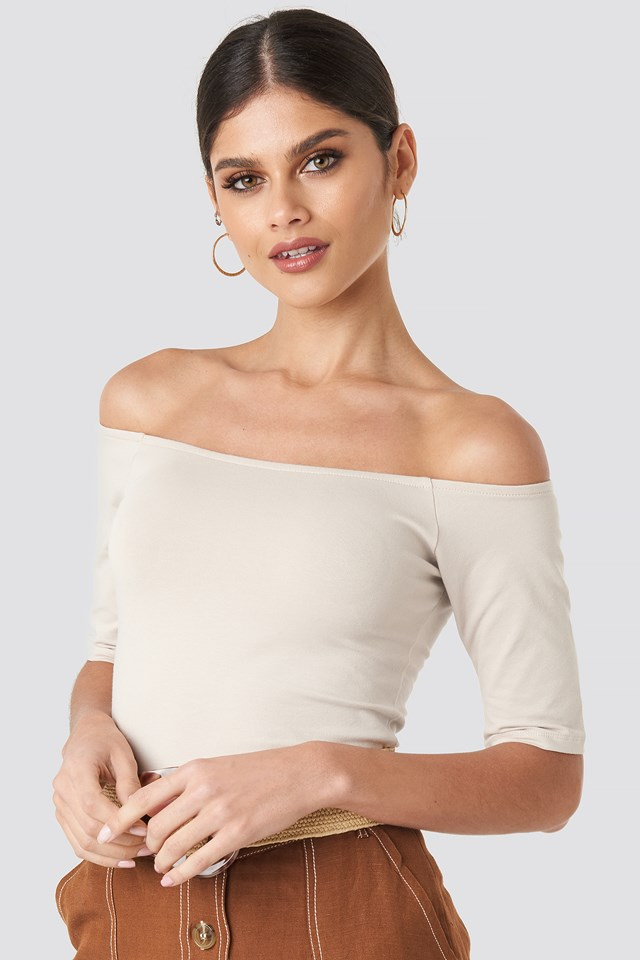 Short Sleeve Off Shoulder Top Dusty Light Beige