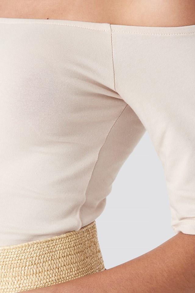 Short Sleeve Off Shoulder Top Dusty Light Beige