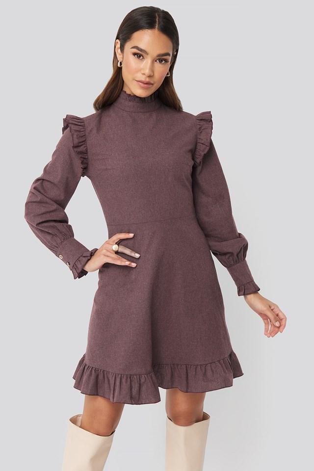Shoulder Detail Mini Dress Burgundy