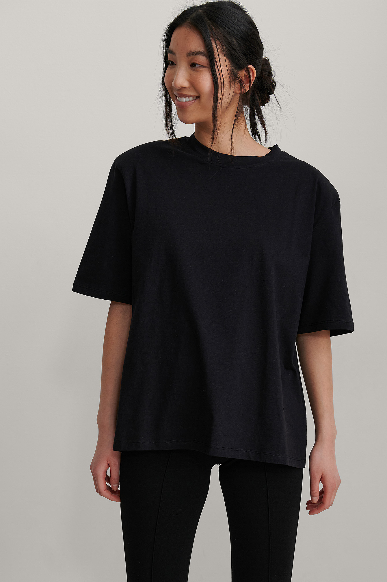 Black Organic Shoulder Pad Boxy Tee