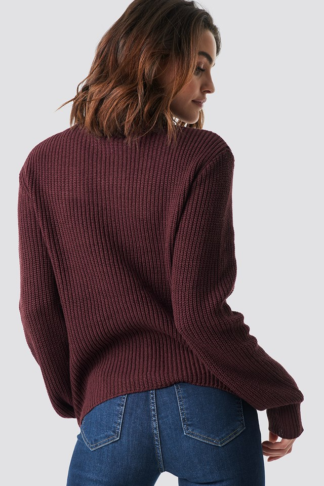 Side Buttoned Knitted Sweater Burgundy