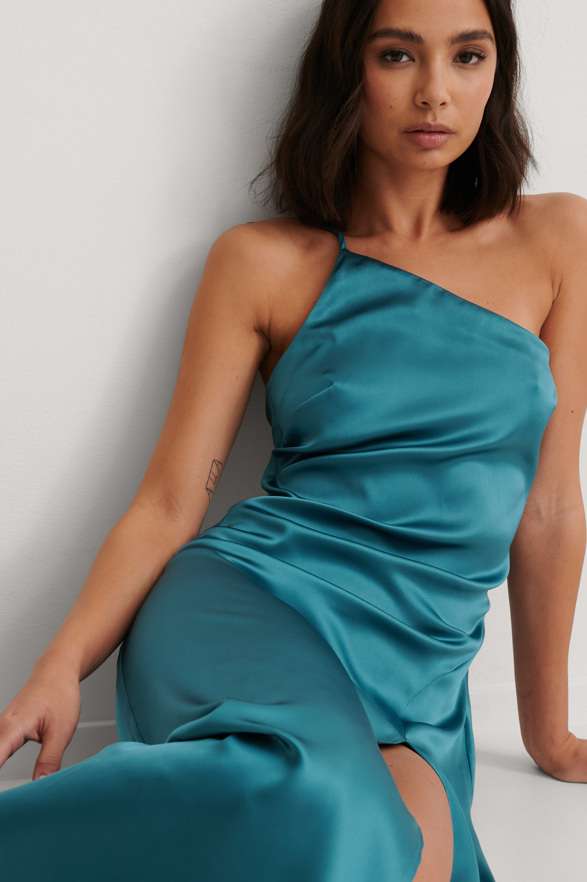 Blue Side Slit Asymmetric Satin Dress