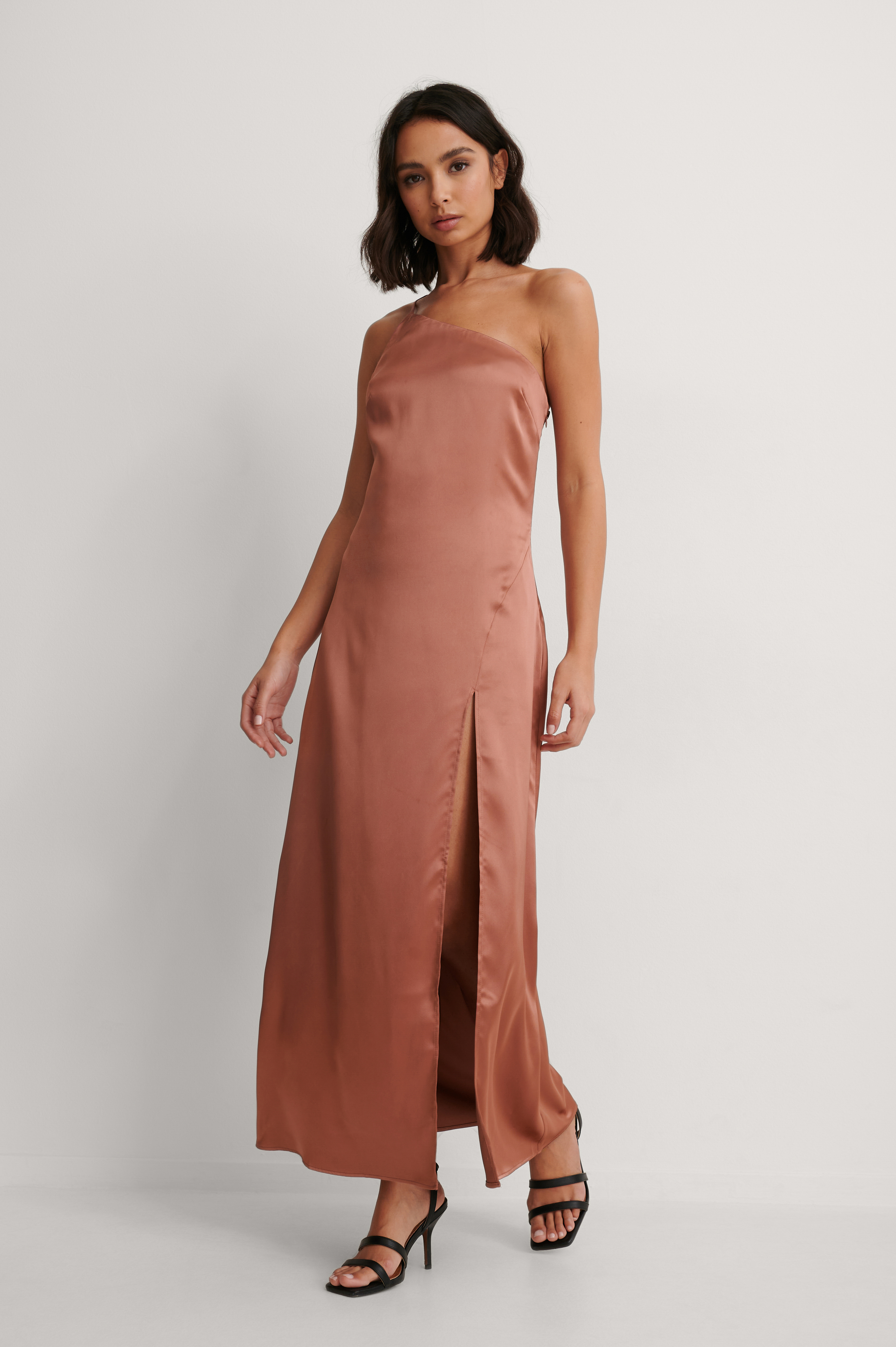 Pink Side Slit Asymmetric Satin Dress
