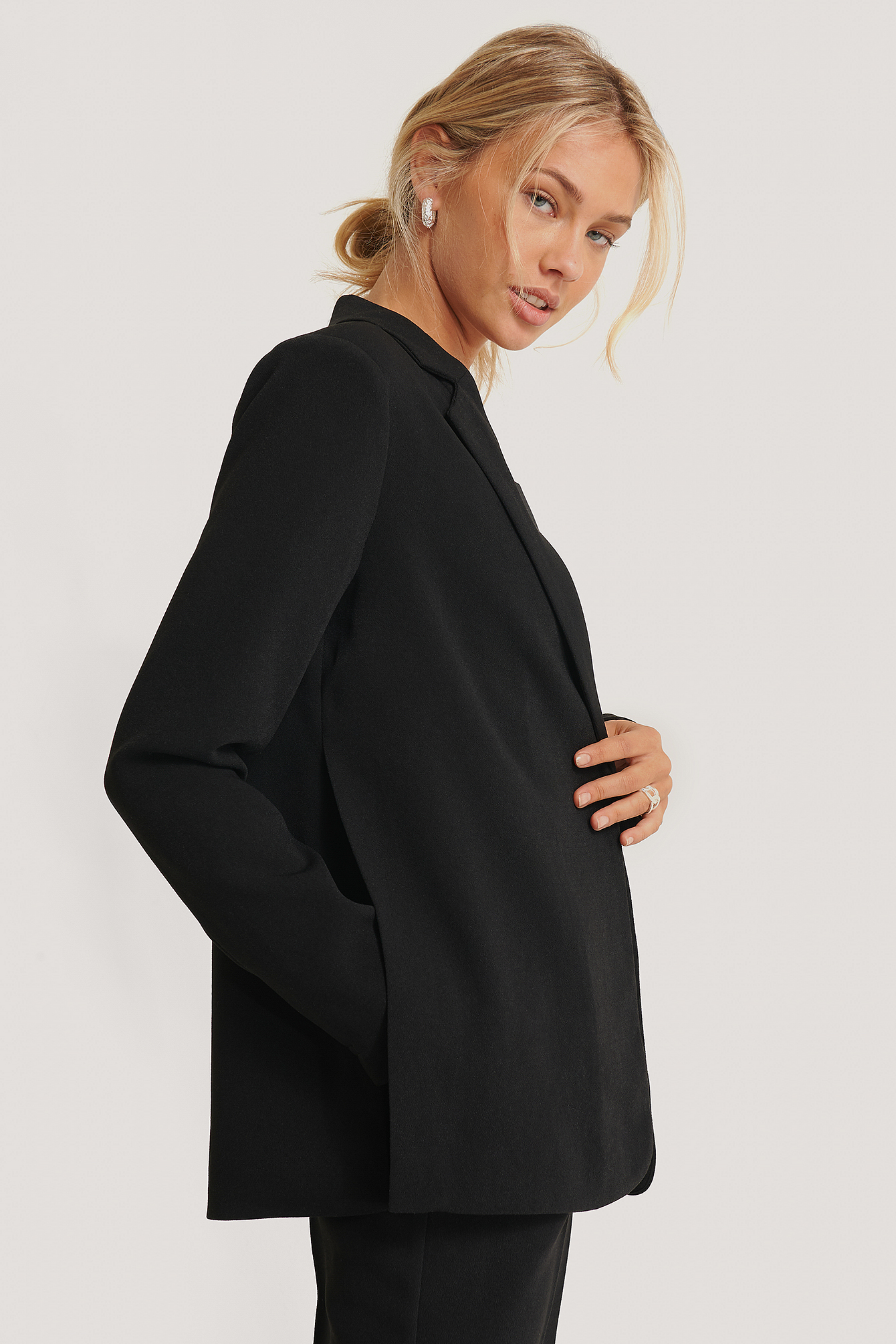 Black Side Slit Blazer
