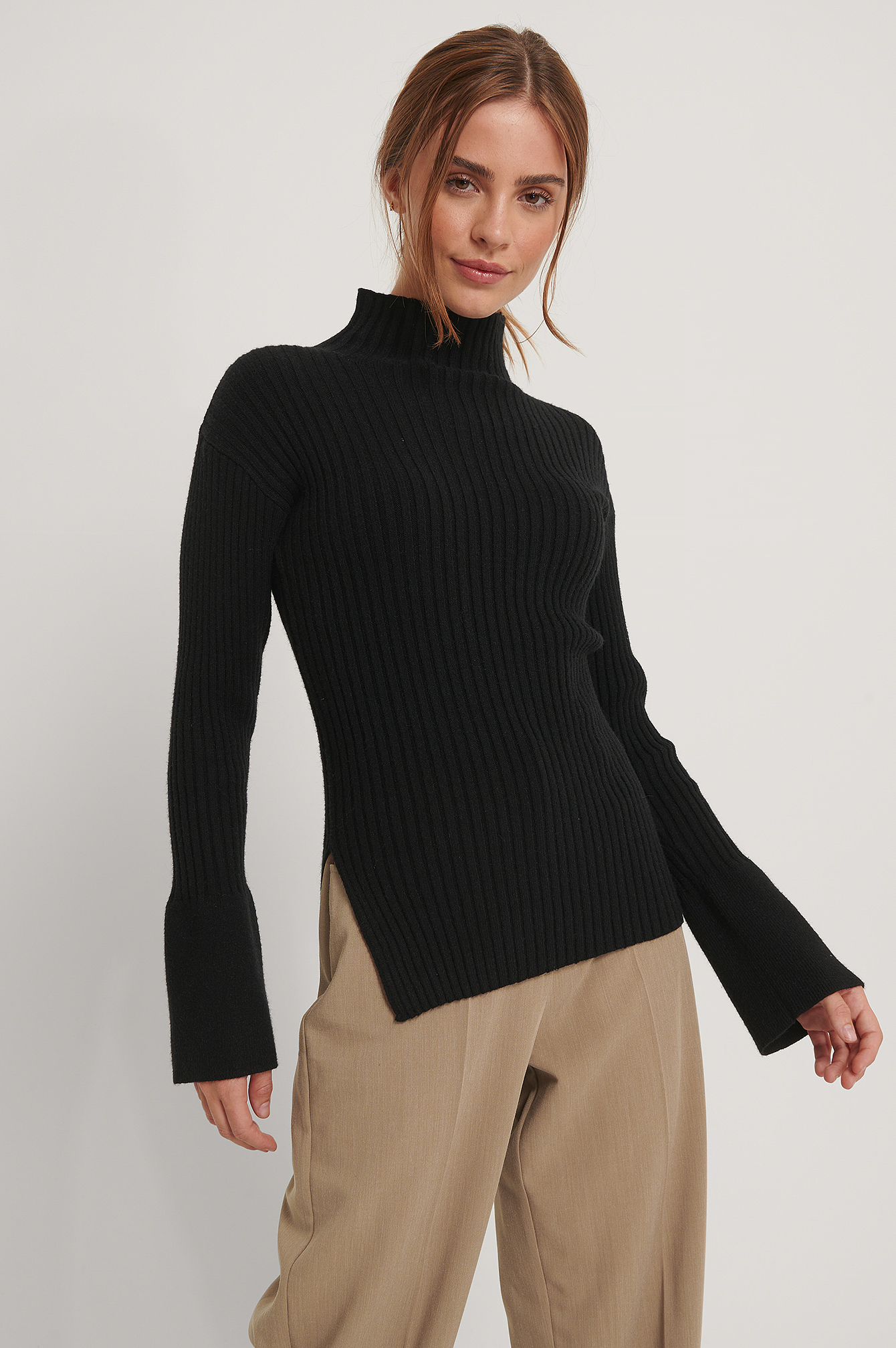 Black Side Slit Ribbed Knitted Sweater