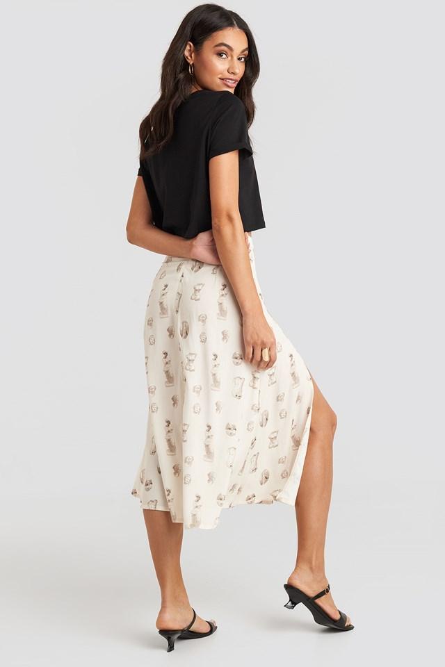 Side Split Midi Skirt Beige
