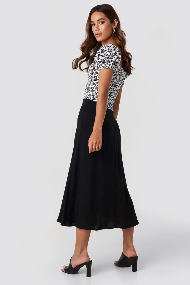 Side Split Midi Skirt Deep Black