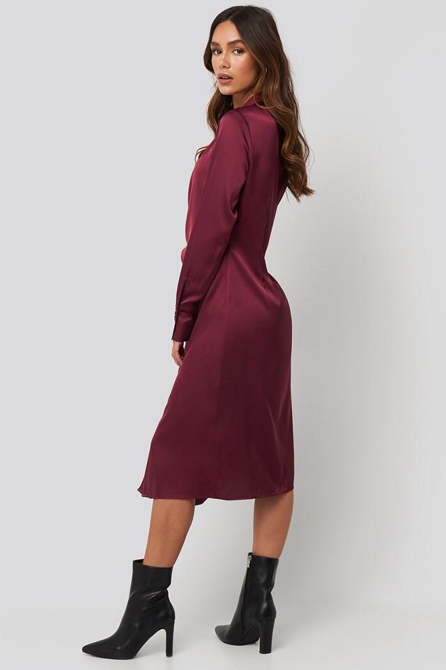 Side Tie Satin Midi Dress Burgundy