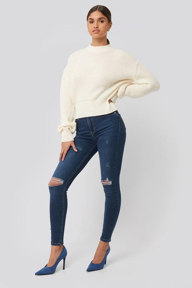 Skinny High Waist Destroyed Jeans Dark Blue