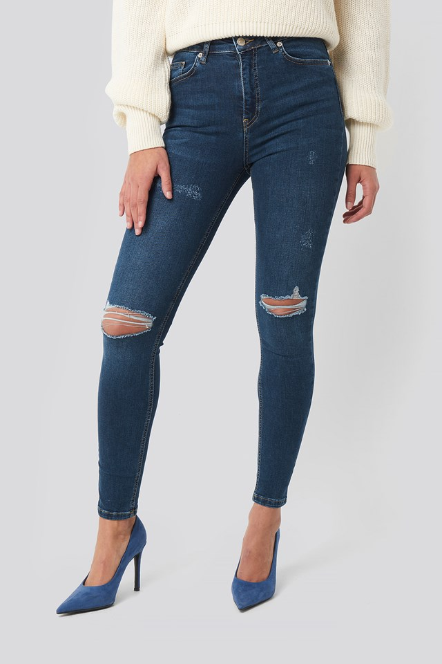 Skinny High Waist Destroyed Jeans Dark Blue