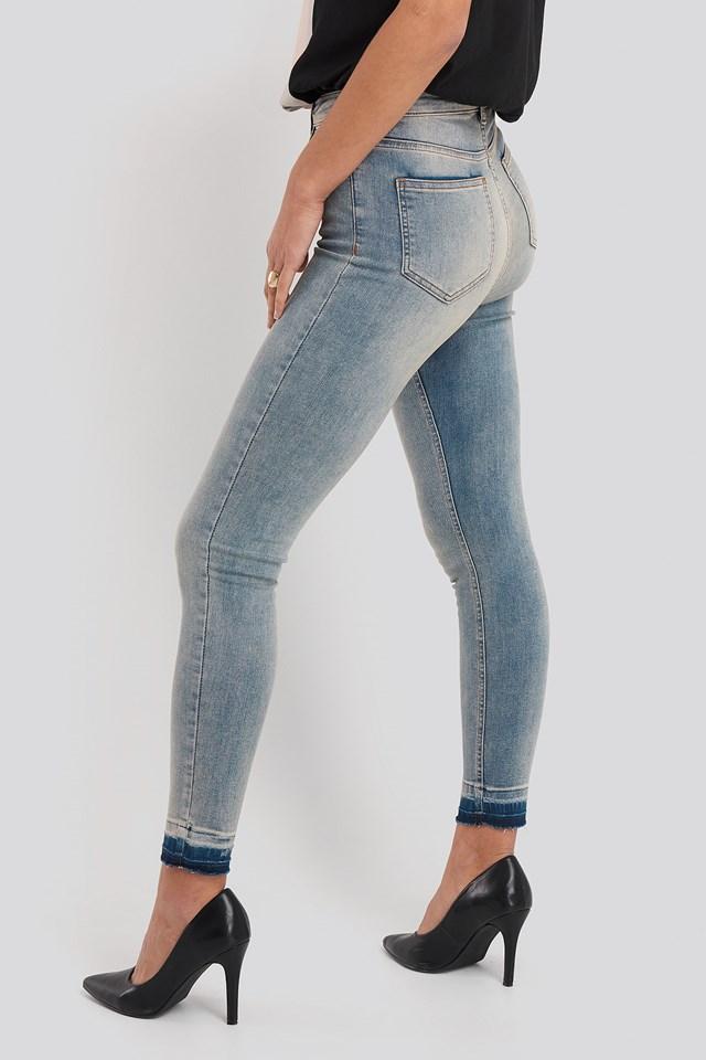 Skinny High Waist Open Hem Jeans Washed Blue