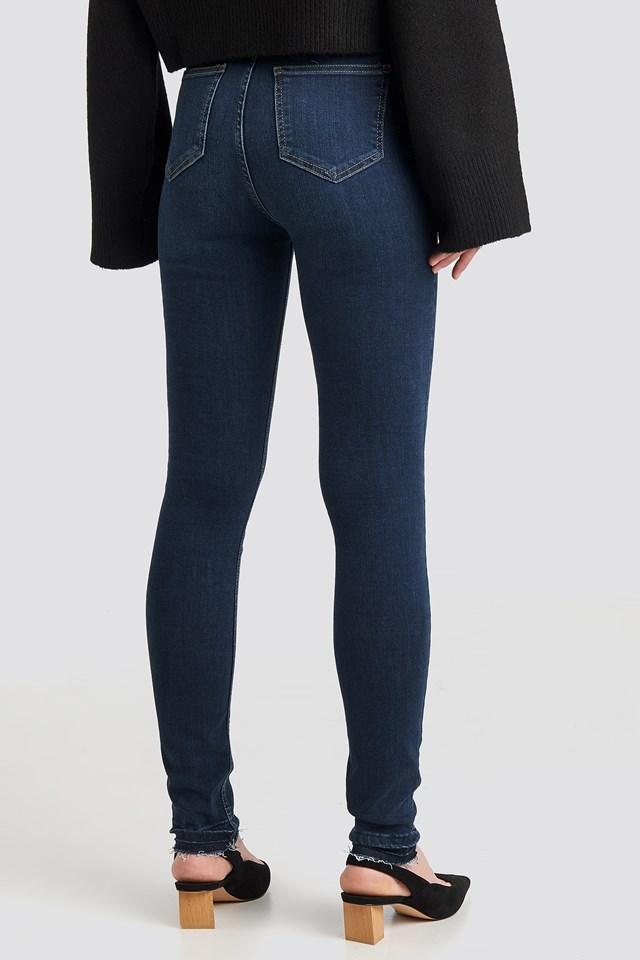 Skinny High Waist Open Hem Jeans Tall Dark Blue