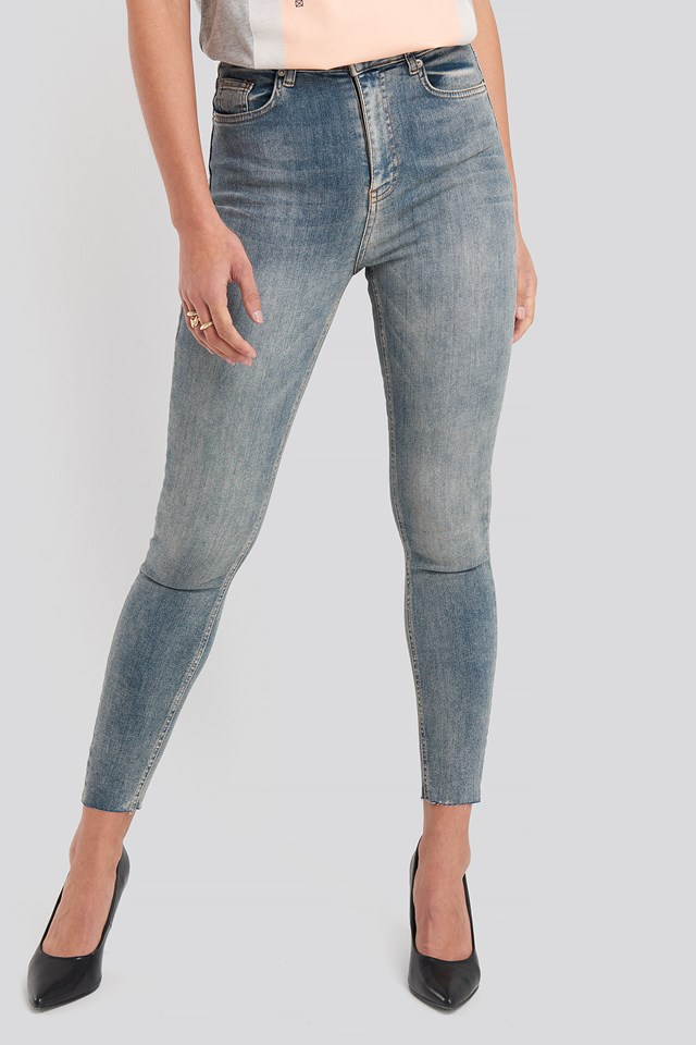 Skinny High Waist Raw Hem Jeans Washed Blue