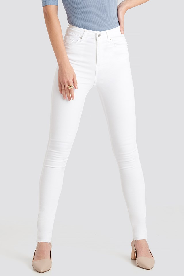 Skinny High Waist Raw Hem Jeans Tall White