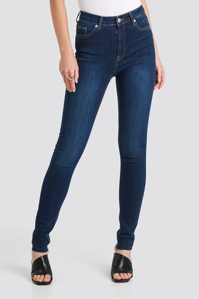 Skinny High Waist Raw Hem Jeans Tall Dark Blue