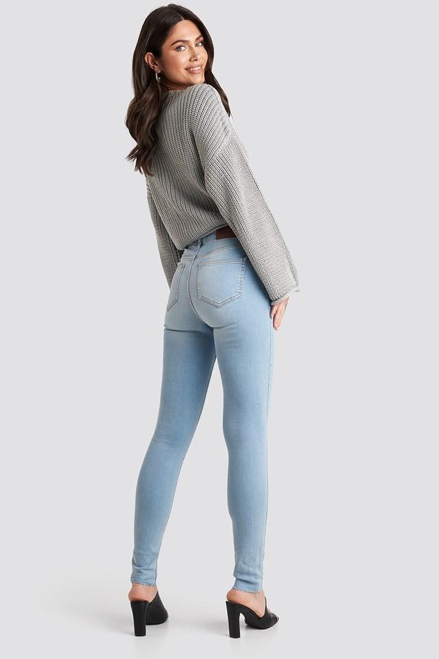 Skinny High Waist Raw Hem Jeans Tall Light Blue