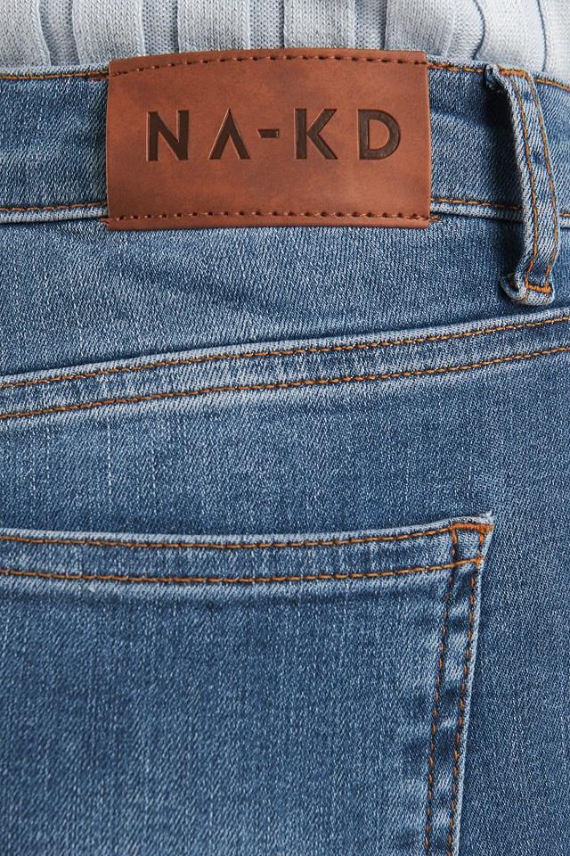 Skinny High Waist Raw Hem Jeans Tall Mid Blue