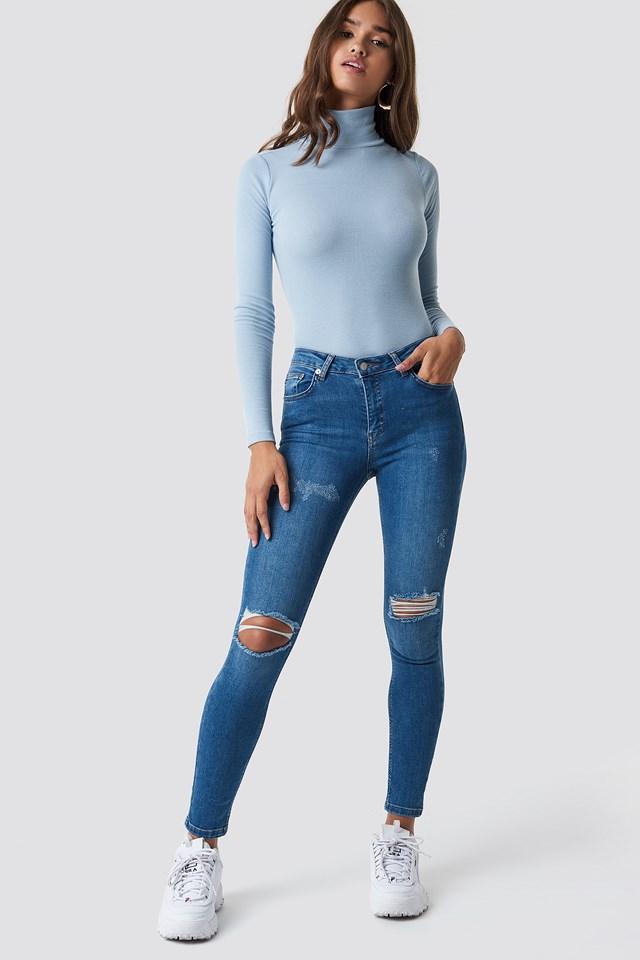 Skinny Mid Waist Destroyed Jeans Mid Blue
