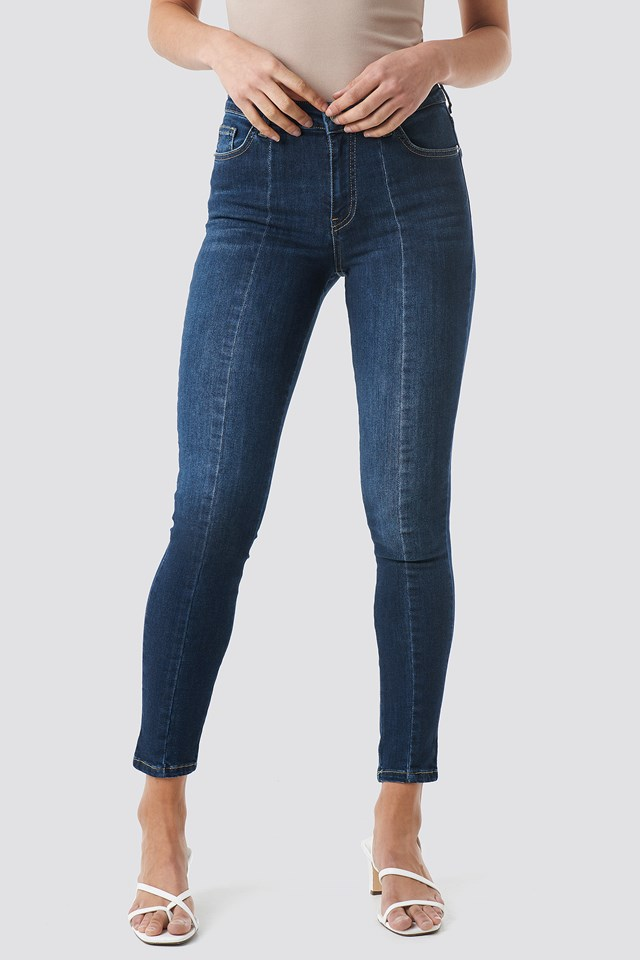 Skinny Mid Waist Front Panel Jeans Dark Blue