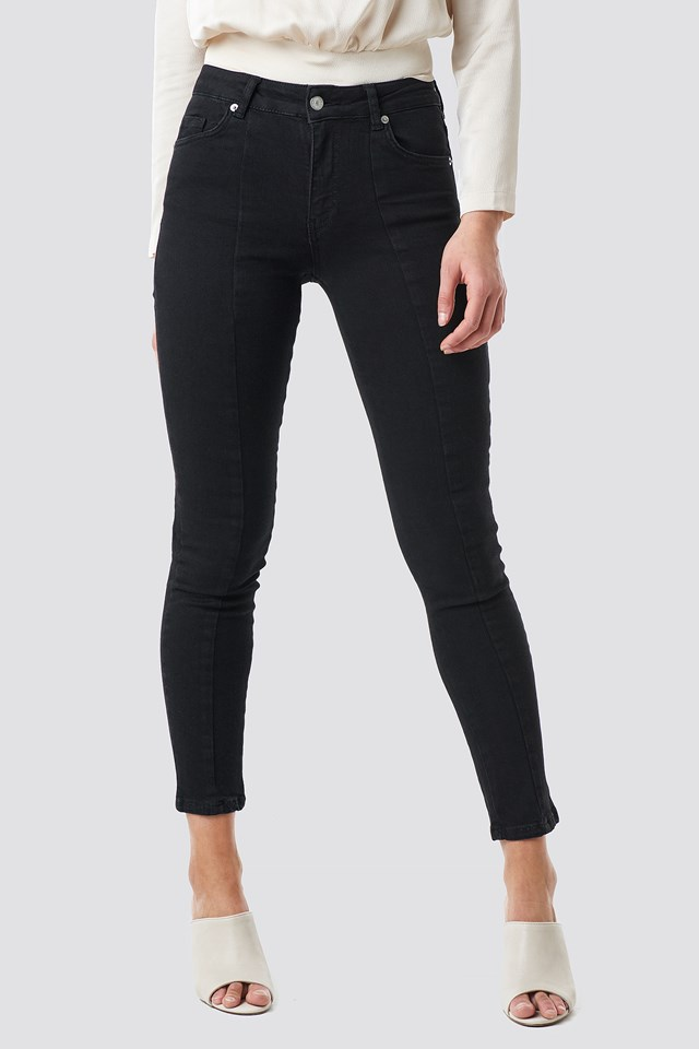 Skinny Mid Waist Front Panel Jeans Black