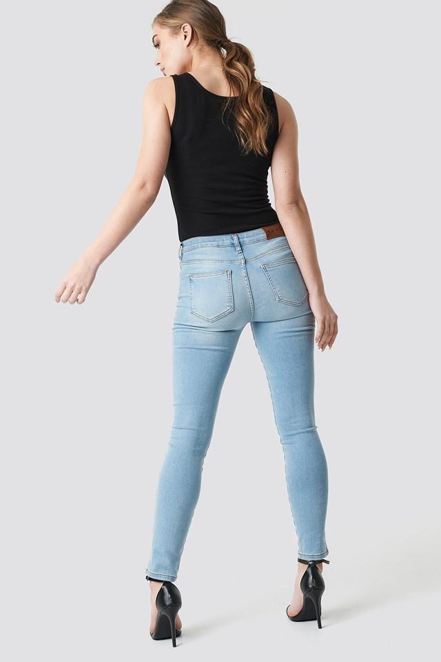 Skinny Mid Waist Front Panel Jeans Light Blue
