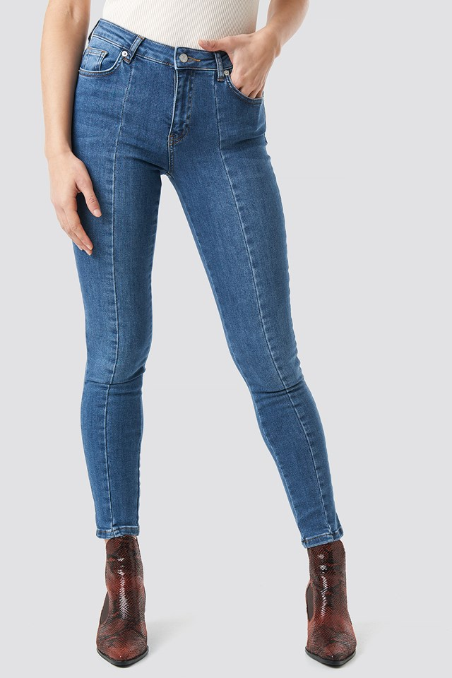 Skinny Mid Waist Front Panel Jeans Mid Blue