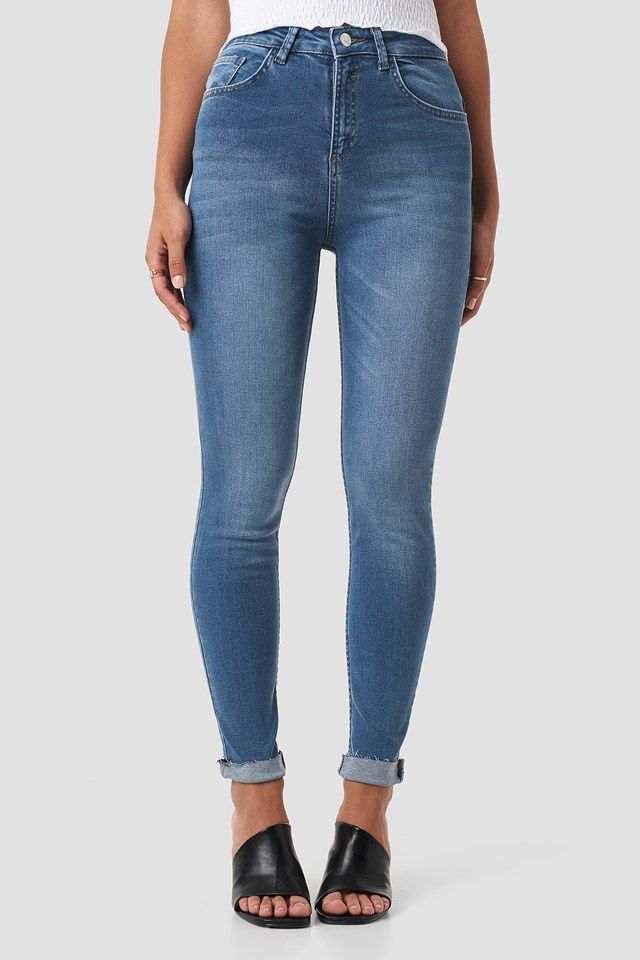 Skinny Raw Hem Jeans Mid Blue