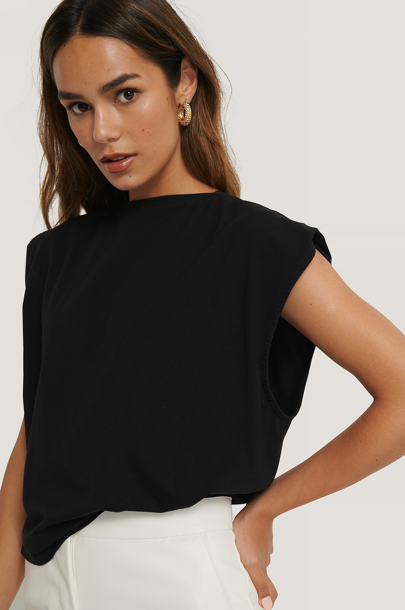 Black Organic Sleeve Detail Top