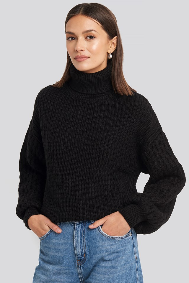 Sleeve Detailed Knitted Polo Sweater Black