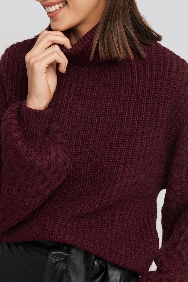 Sleeve Detailed Knitted Polo Sweater Burgundy