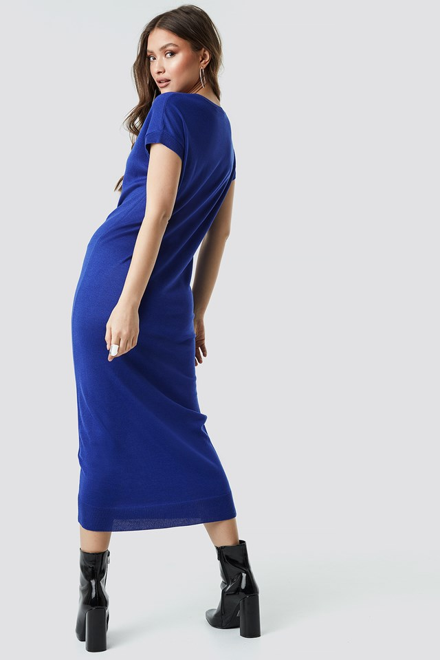 Sleeveless Midi Knit Dress Navy