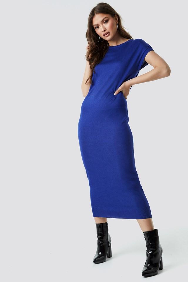 Sleeveless Midi Knit Dress Navy