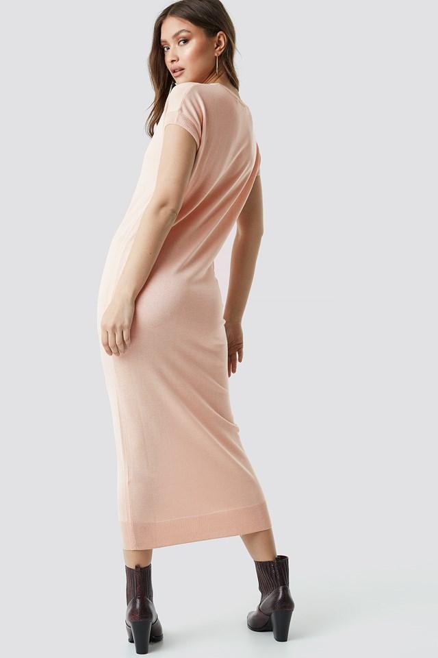 Sleeveless Midi Knit Dress Soft Pink