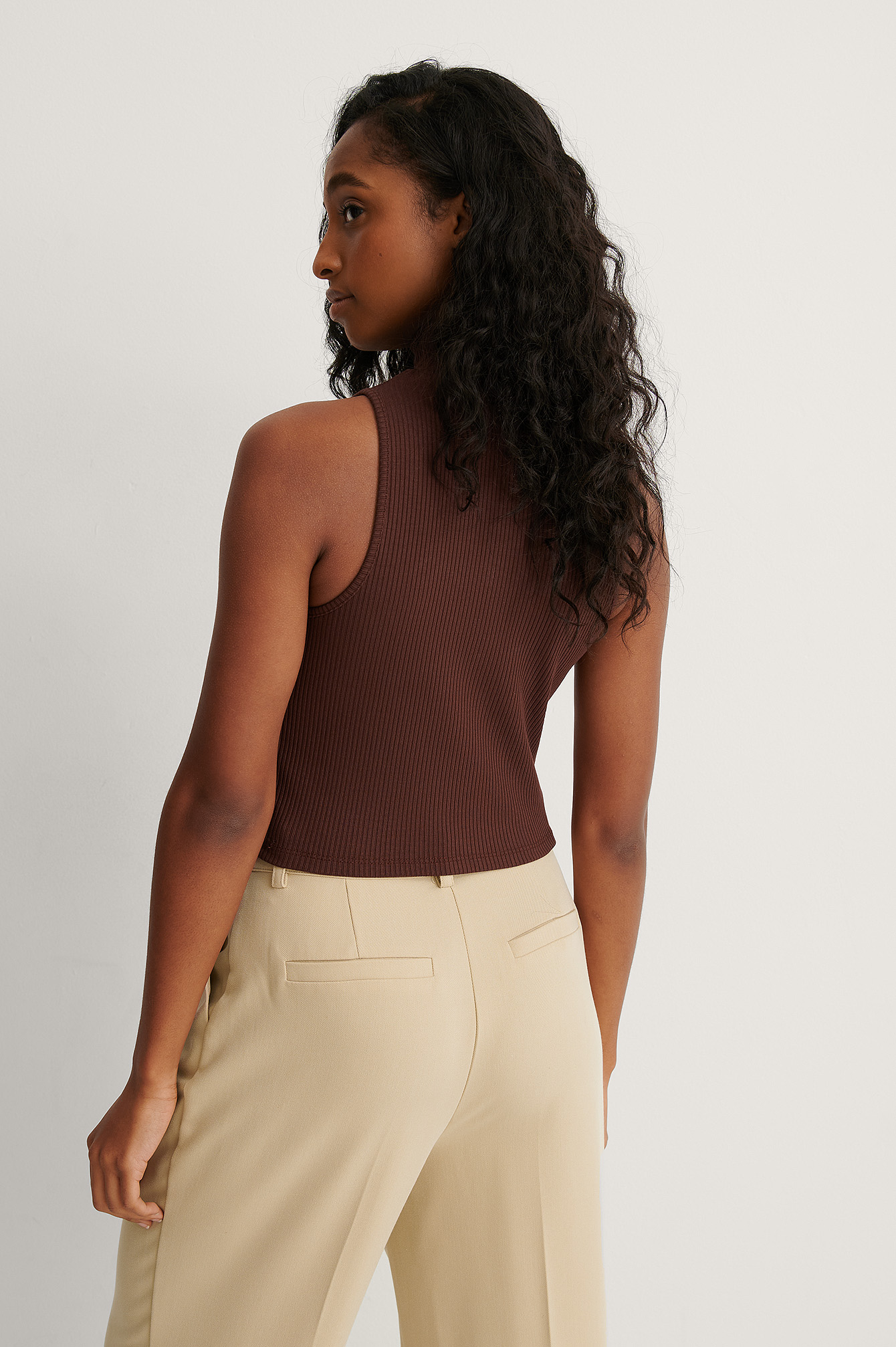 Brown Sleeveless Turtleneck Top