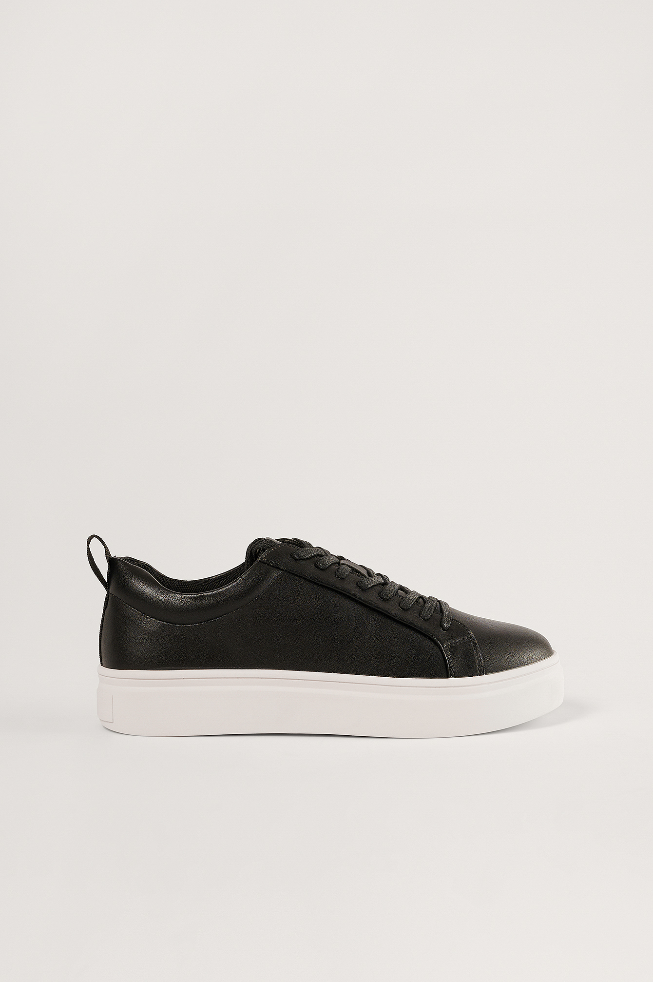 Black Slim Laces Court Trainers