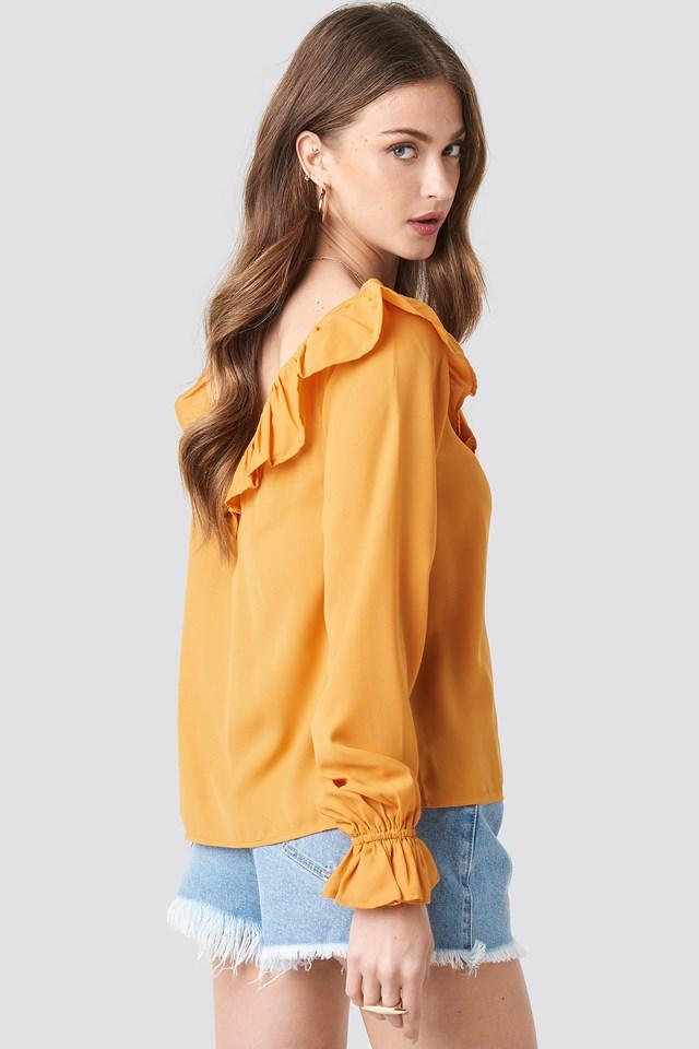 Slip Shoulder Flounce Blouse Mustard Yellow