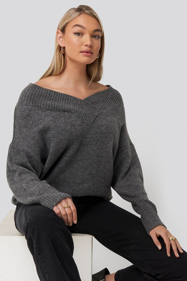 Slip Shoulder Knitted Sweater Grey