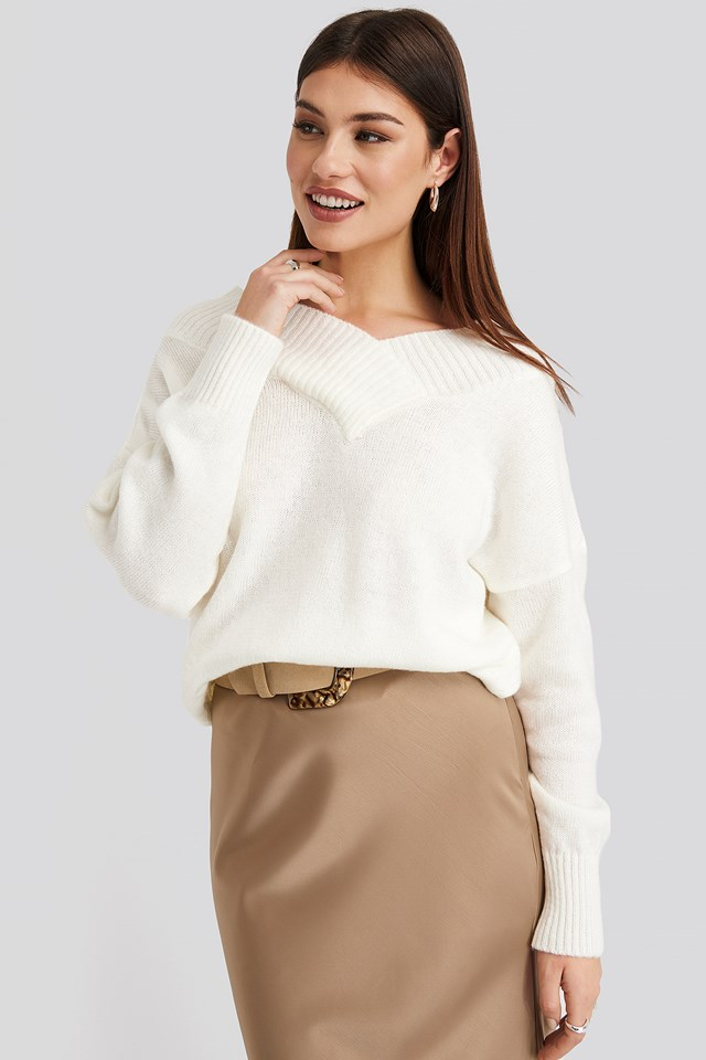 Slip Shoulder Knitted Sweater Offwhite