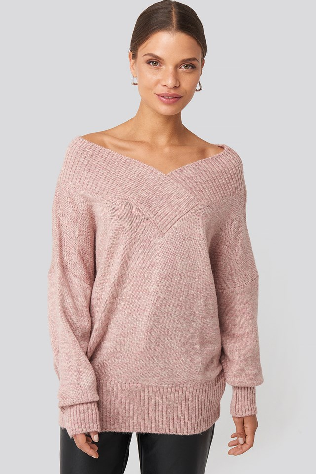 Slip Shoulder Knitted Sweater Dusty Light Pink
