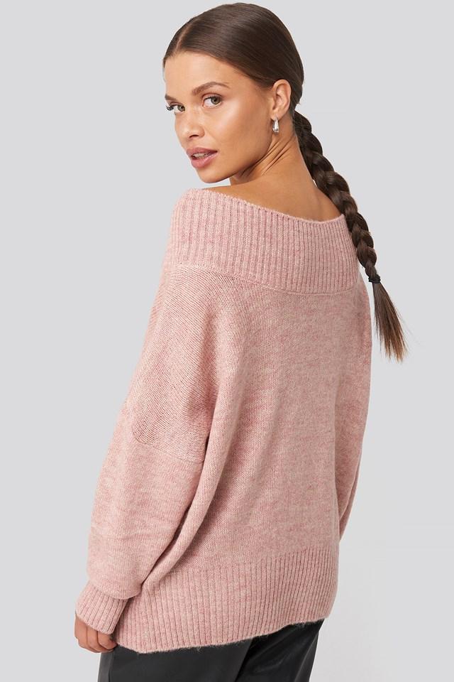 Slip Shoulder Knitted Sweater Dusty Light Pink