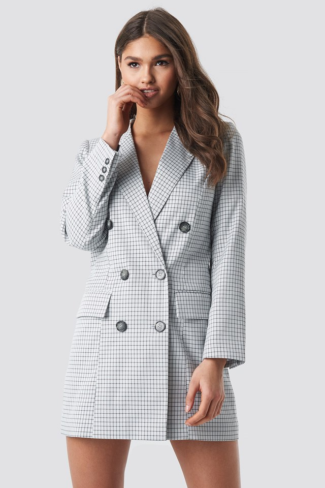Small Checkered Blazer Dress Light Blue