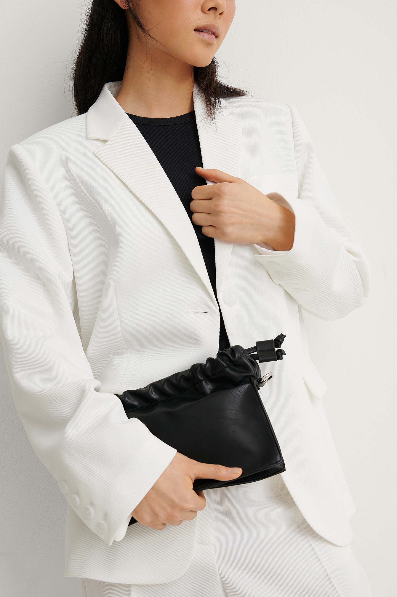 Black Small Gathered Chain Bag