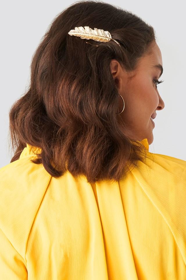 Small Leaf Hair Clip Gold