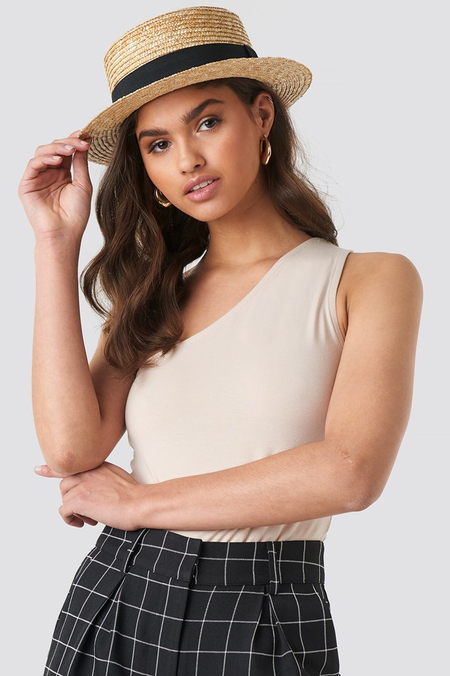 Small Round Straw Hat Natural