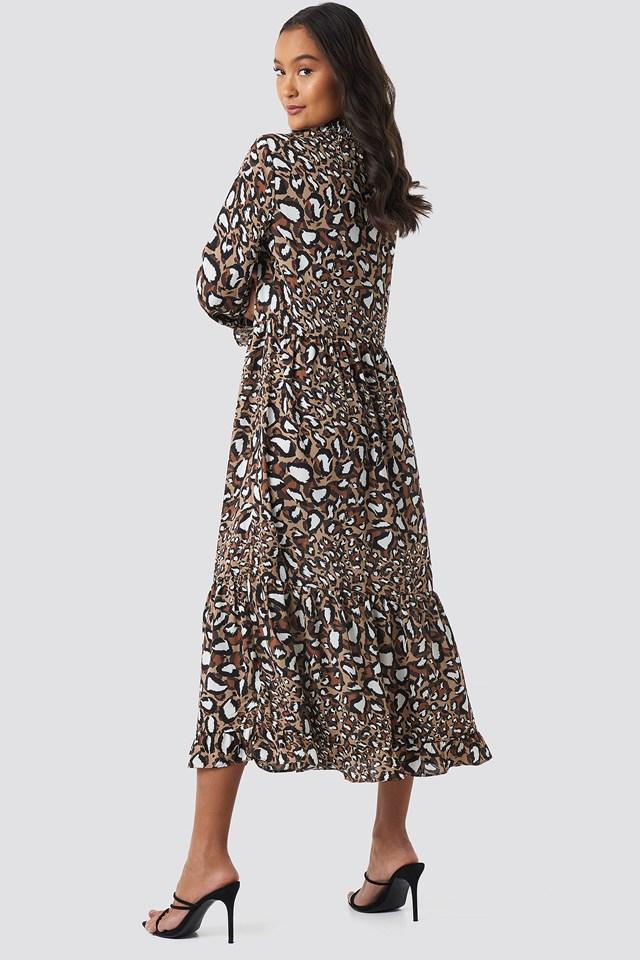 Smock Neck Printed Ankle Dress Leo