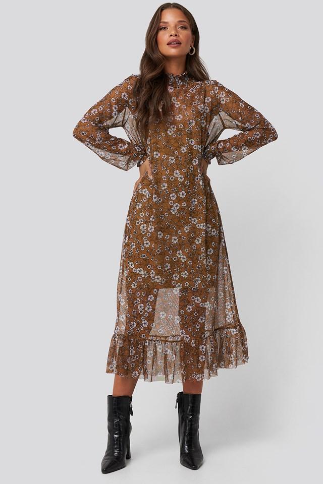 Smock Neck Printed Mesh Dress NA-KD Trend